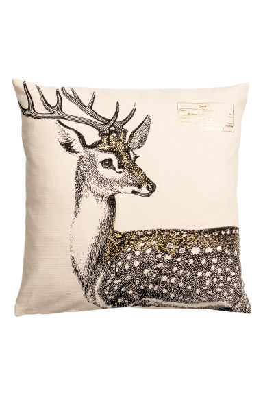 Christmas-print cushion cover - Natural white/Deer - Home All | H&M GB