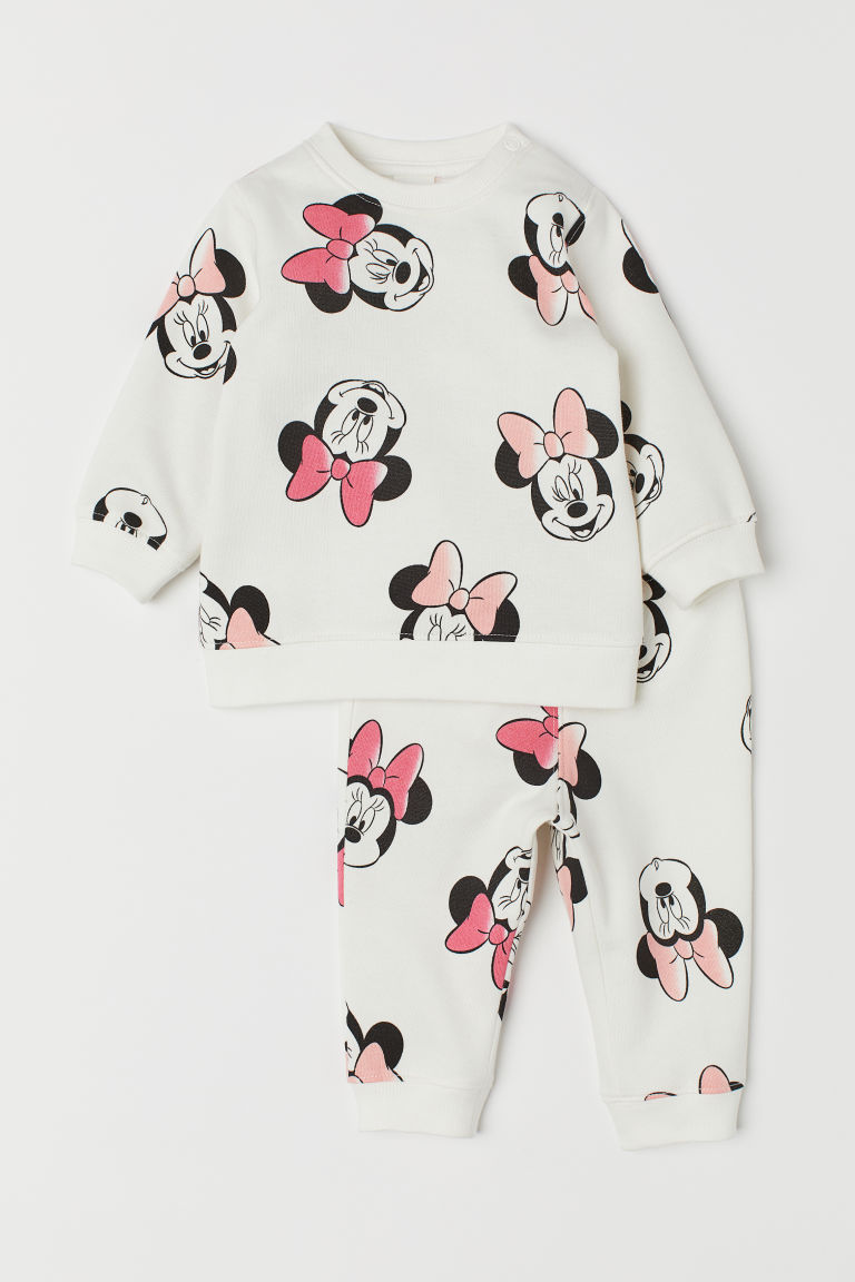 Top and trousers - Natural white/Minnie Mouse - Kids | H&M CN