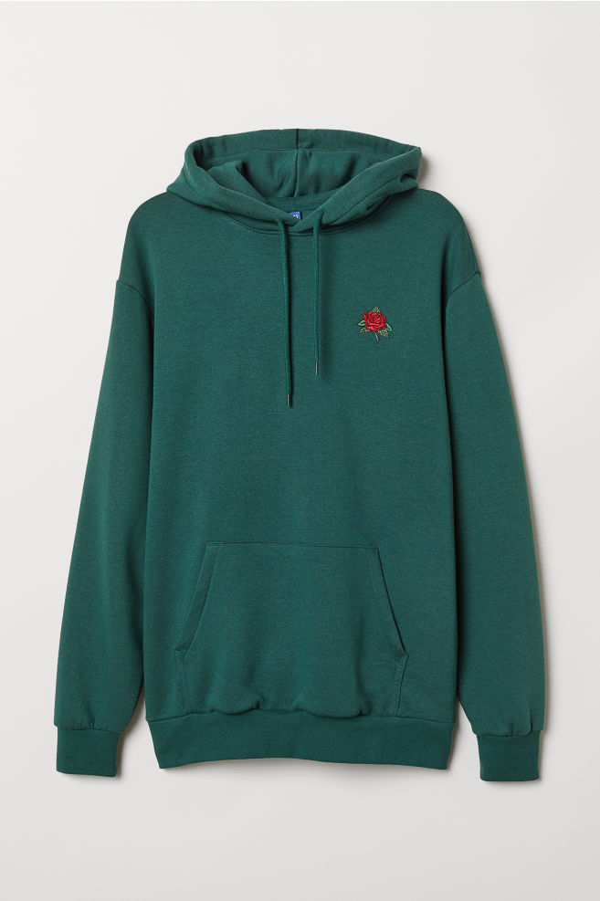 de29a77f Hooded Sweatshirt - Dark green/rose - Men | H&M ...