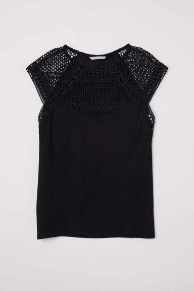 Top with a lace yoke - Black -  | H&M CN
