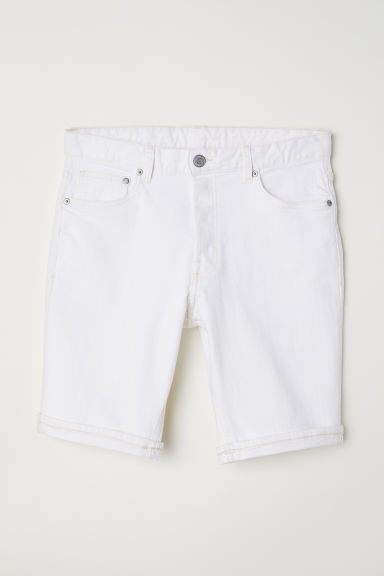 Denim Shorts Slim fit - White - Men | H&M US
