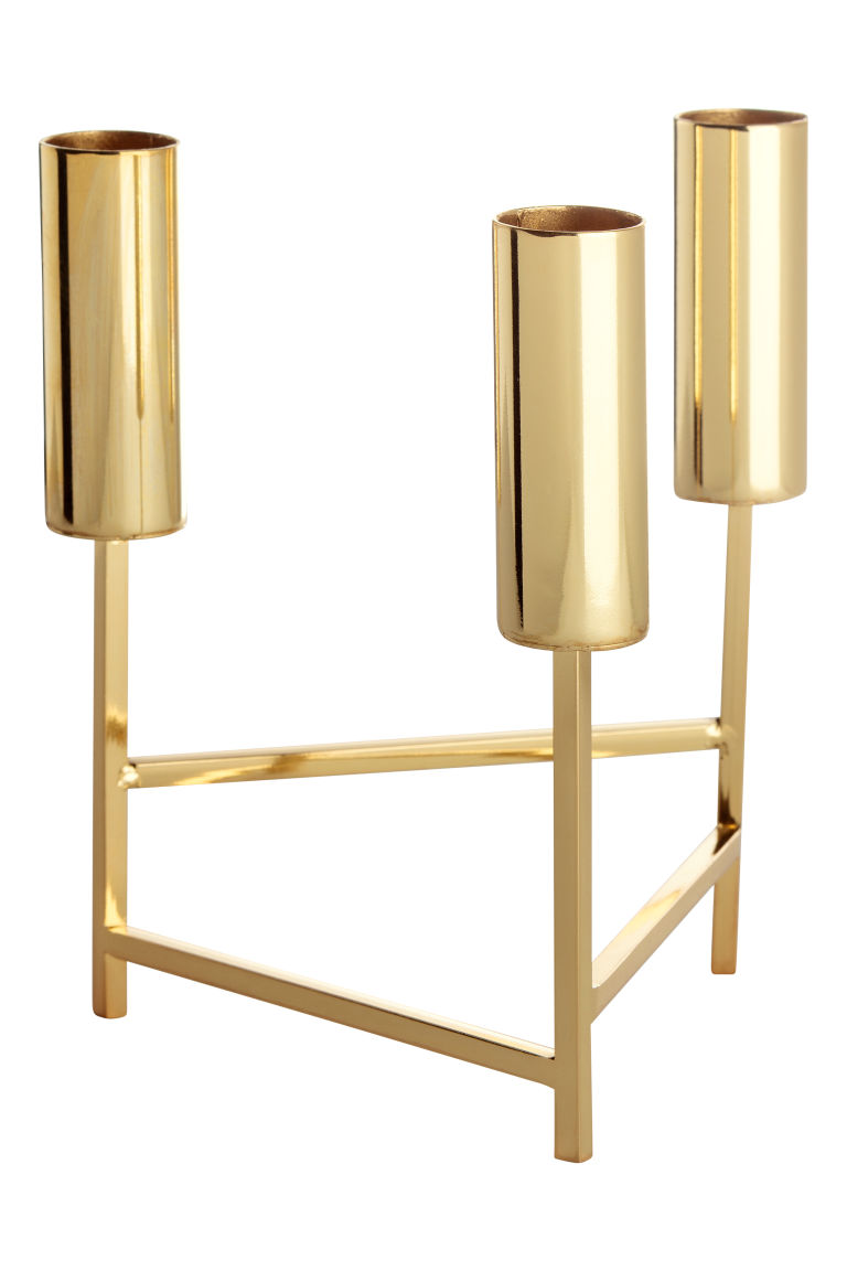 Triangular candlestick - Gold-coloured - Home All | H&M GB