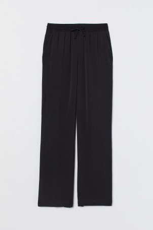 Wide pull-on satin trousers