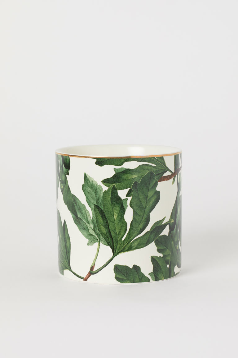Maceta de porcelana - Blanco/Verde - Home All | H&M MX