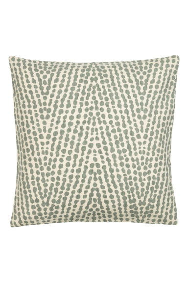 Patterned cushion cover - Lt. khaki green/Natural white - Home All | H&M CN