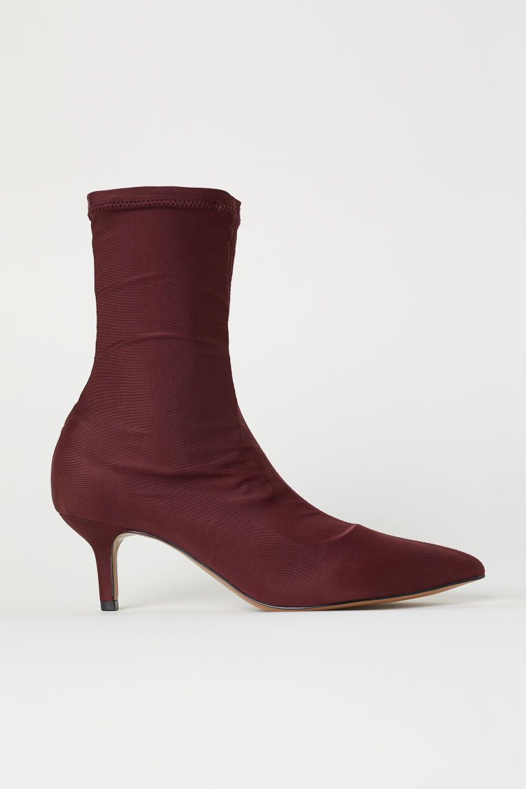 Sock-style court shoes - Dark red - Ladies | H&M CN