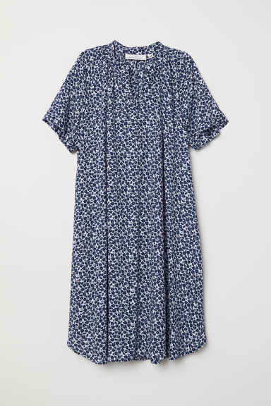 Short-sleeved dress - Dark blue/Floral - Ladies | H&M CN