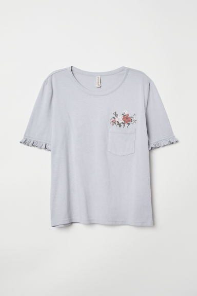 T-shirt with embroidery - Light mauve/Flowers - Ladies | H&M