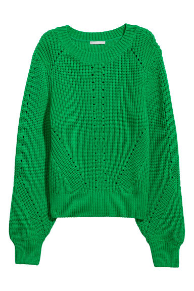 Knitted jumper - Green - Ladies | H&M