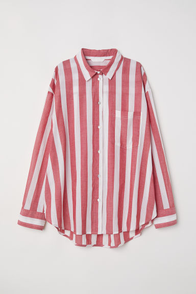 Oversized shirt - Red/Striped -  | H&M