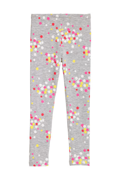 Jersey leggings - Grey marl/Apple - Kids | H&M