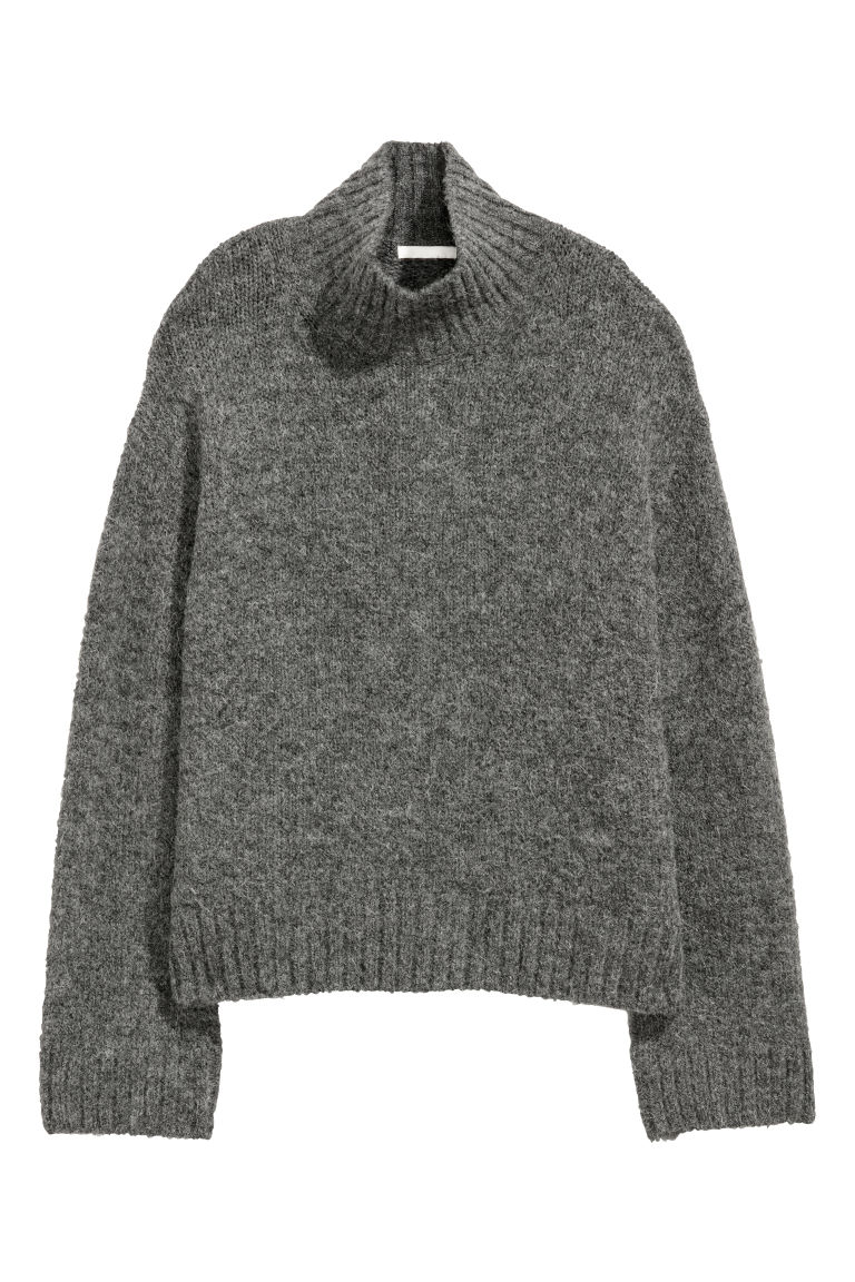Knitted wool-blend jumper - Dark grey - Ladies | H&M