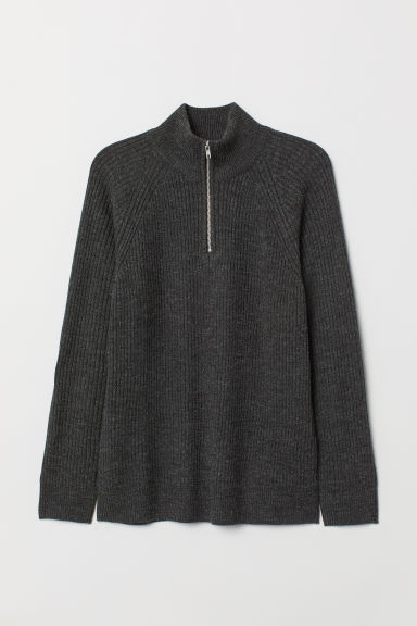 Ribbed stand-up collar jumper - Dark grey -  | H&M