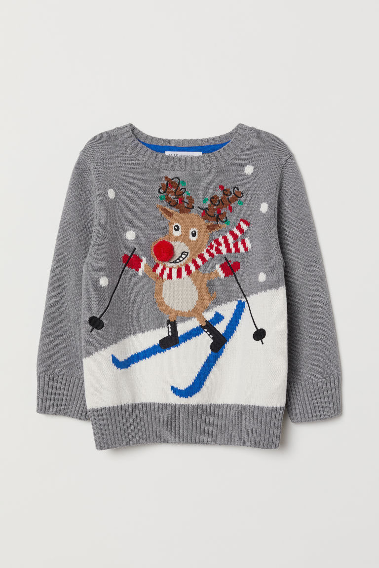 Fine-knit jumper - Grey marl/Reindeer - Kids | H&M CN