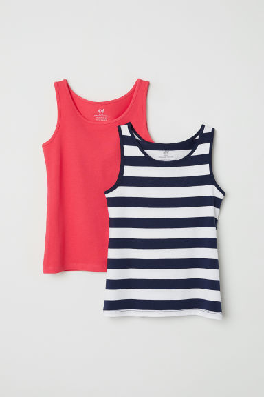 2-pack jersey vest tops - White/Striped -  | H&M CN