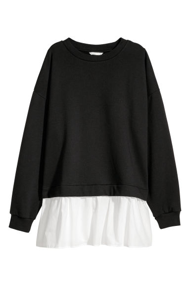Wide sweatshirt - Black -  | H&M CN