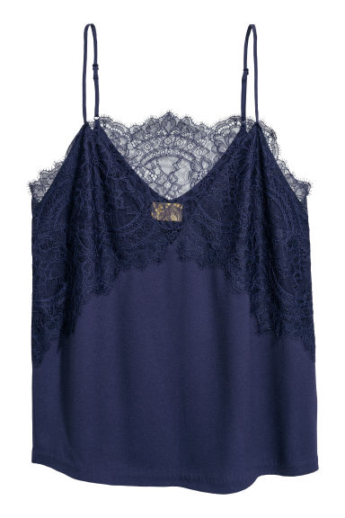 Satin strappy top with lace - Dark blue - Ladies | H&M