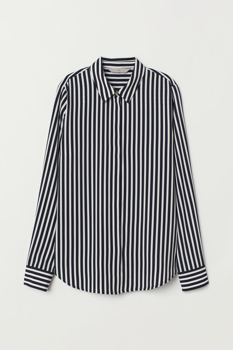 Long-sleeved Blouse - Dark blue/white striped - Ladies | H&M US