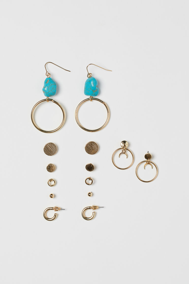7 Pairs Earrings - Gold-colored/turquoise - Ladies | H&M US