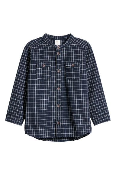Cotton shirt - Dark blue/Checked - Kids | H&M CN