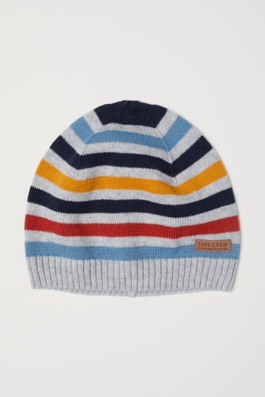 Fine-knit hat - Light grey marl/Striped - Kids | H&M CN