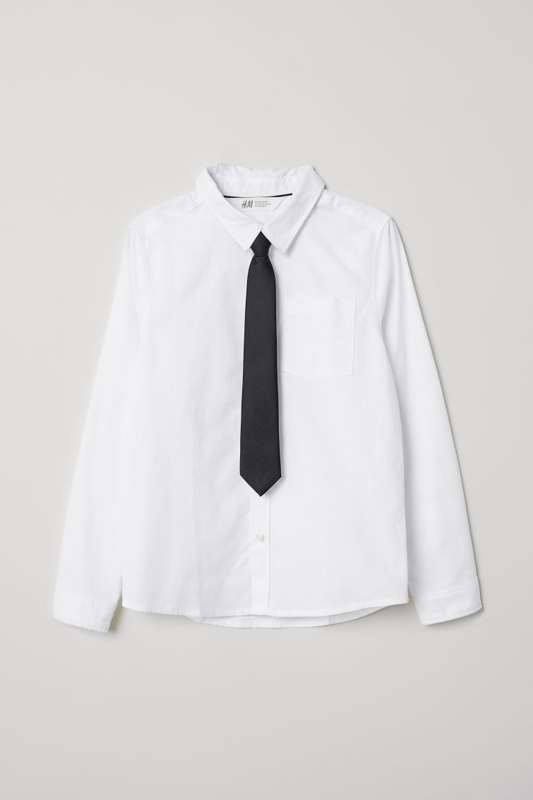 Shirt with a tie/bow tie - White/Tie - Kids | H&M CN