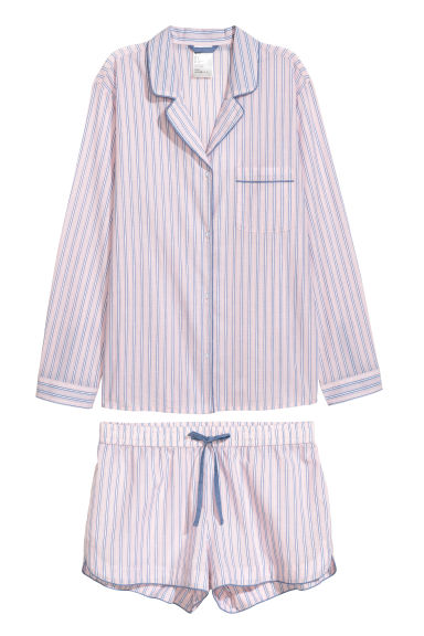 Pyjama shirt and shorts - Light pink/Striped - Ladies | H&M