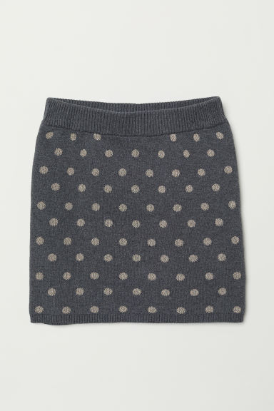 Fine-knit skirt - Grey/Spotted -  | H&M
