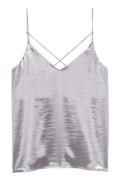 Satin strappy top - Light heather -  | H&M