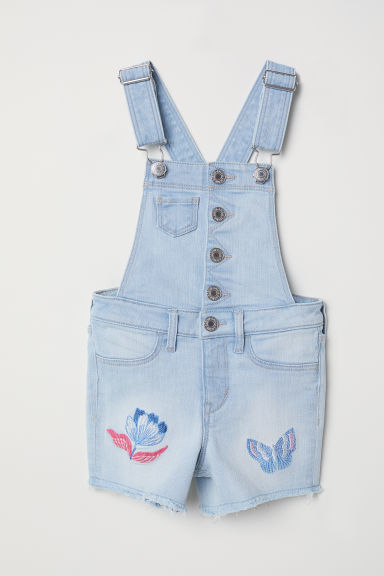 Embroidered dungaree shorts - Light blue -  | H&M