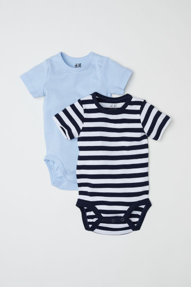 2-pack short-sleeved bodysuits - Light blue/Striped - Kids | H&M