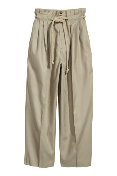 Trousers with a tie belt - Beige - Ladies | H&M CN