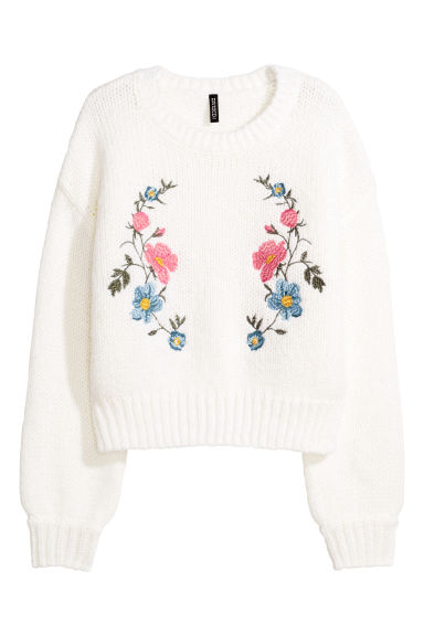 Knitted jumper with embroidery - White/Flowers - Ladies | H&M CN