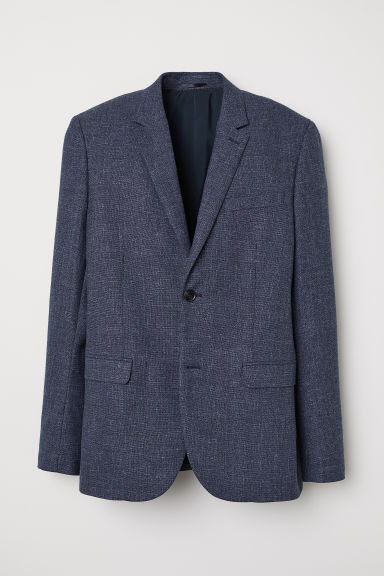 Wool-blend jacket Slim fit - Dark blue marl - Men | H&M