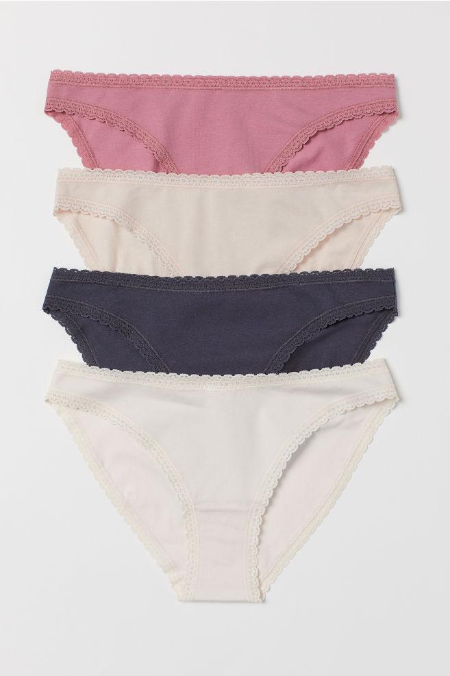 082827378c7 4-pack Cotton Bikini Briefs - Dark blue powder pink - Ladies