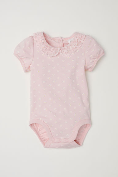 Lace-collared cotton bodysuit - Light pink/Floral -  | H&M CN