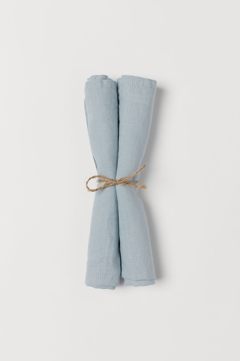 2-pack linen napkins - Light turquoise - Home All | H&M GB