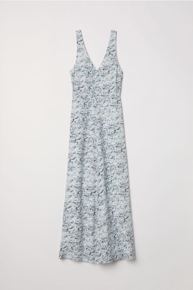 de3b1c21fb95 Lang kjole i silke - Hvid Mønstret - DAME