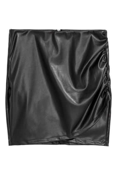 Imitation leather wrap skirt - Black - Ladies | H&M GB