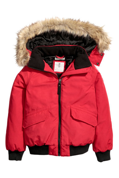 Padded jacket with a hood - Red -  | H&M CN