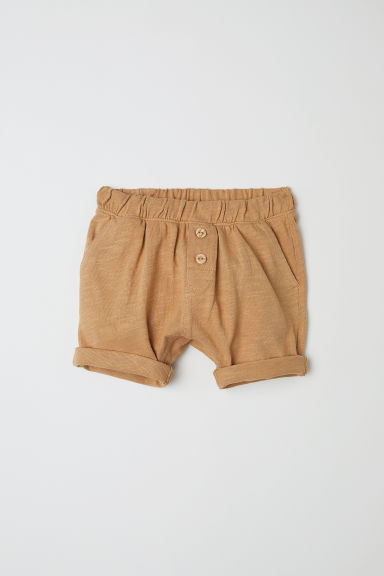 Slub cotton jersey shorts - Dark mustard yellow -  | H&M CN
