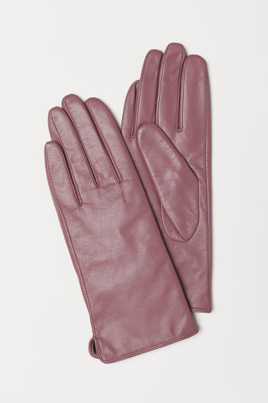 Leather gloves - Dark pink - Ladies | H&M CN