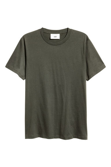 Cotton and silk T-shirt - Khaki green -  | H&M GB
