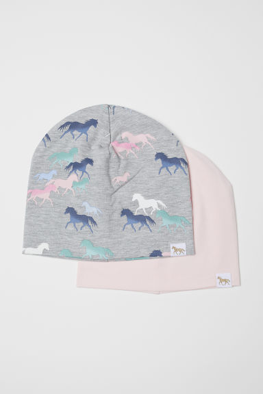 2-pack jersey hats - Grey marl/Horses - Kids | H&M