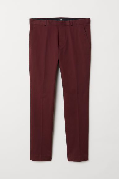 Cotton chinos Skinny Fit - Burgundy - Men | H&M