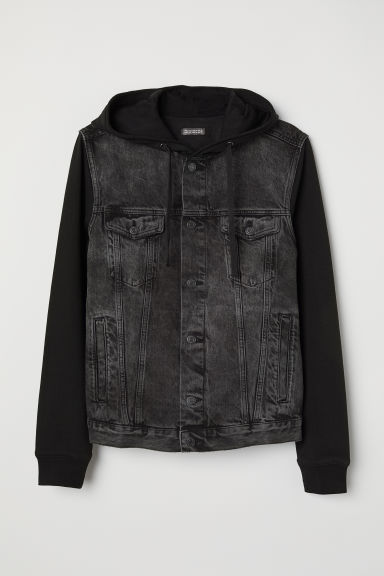 Hooded denim jacket - Black - Men | H&M CN