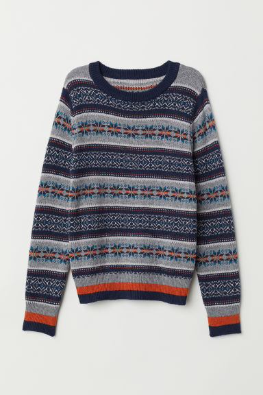 Knitted jumper - Dark blue/Jacquard knit - Kids | H&M CN