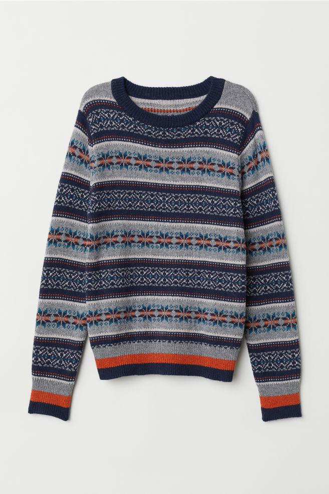 f12b7708 Strikket genser - Mørk blå/Jacquardstrikket - BARN | H&M ...