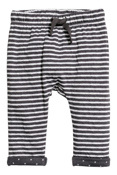 Bonded jersey trousers - Dark grey/Striped - Kids | H&M