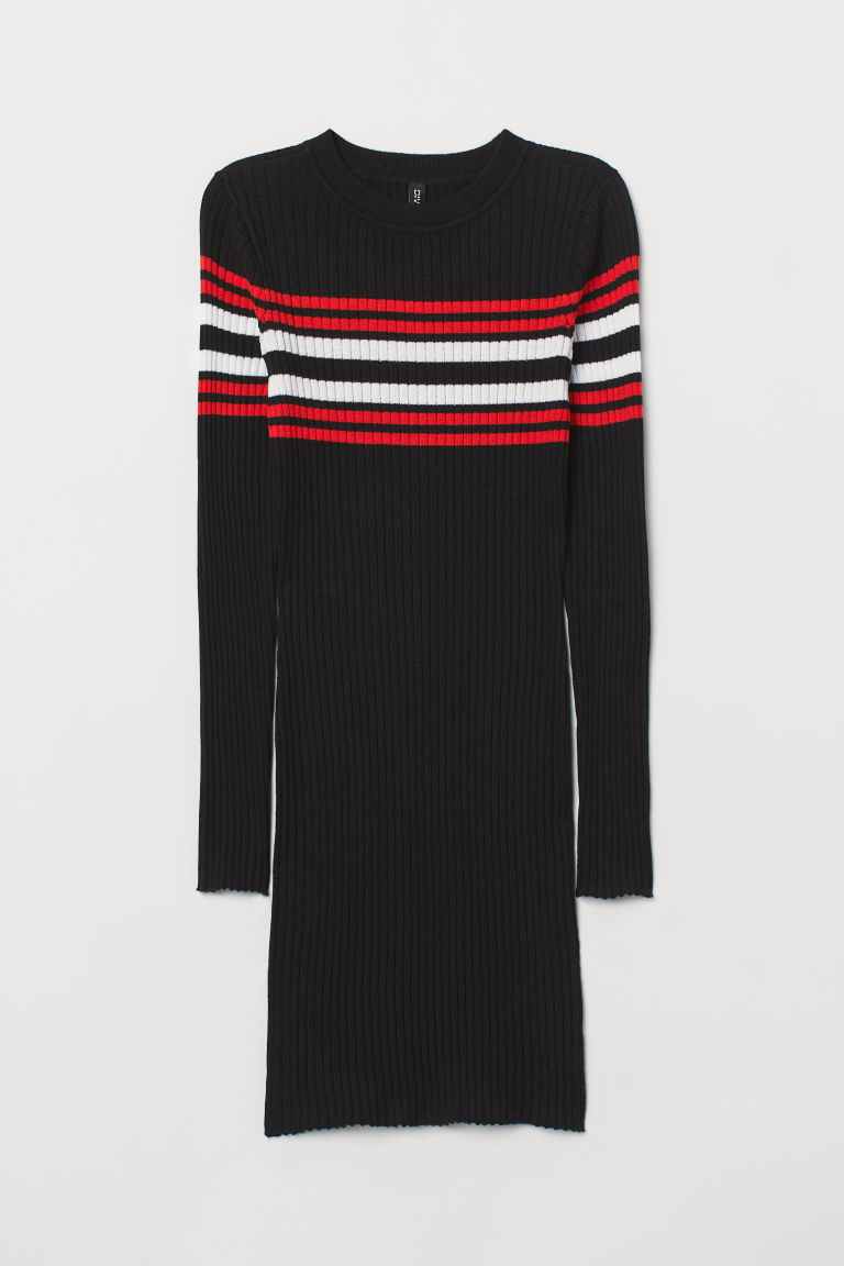 Fitted dress - Black/Red -  | H&M